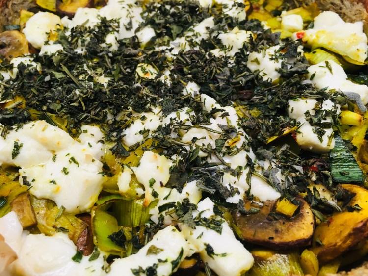 Kartoffel Tarte mit Lauch und Champignons
