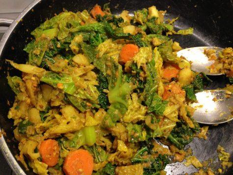 Wirsing Karotten Tarte mit Kartoffel Bohnen Teig