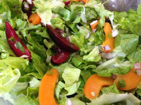 Blattsalat mit Rettich, Pflaumen und Aprikosen Vinaigrette