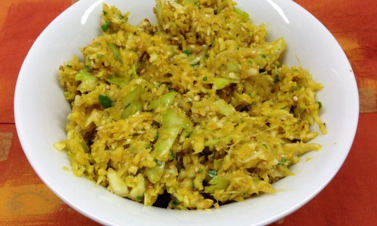 Weißkraut Salat mit Kokos Curry Dressing