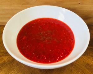 Scharfe Erdbeer Sauce mit Ingwer und Chili