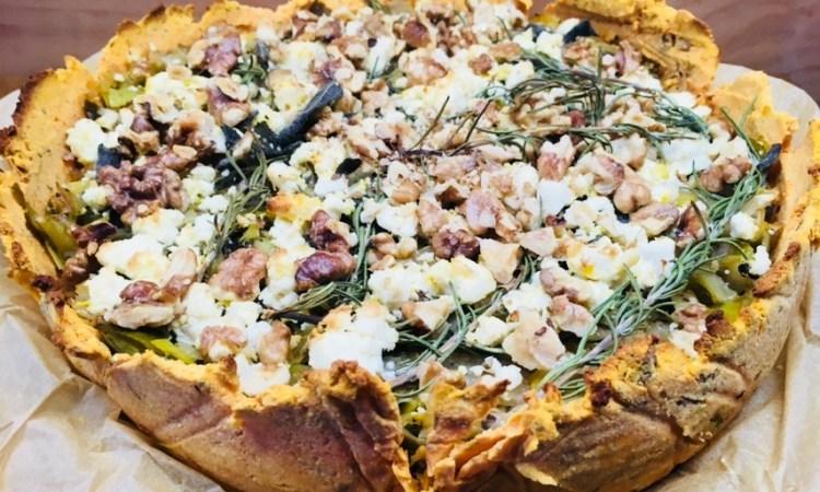 Süßkartoffel Lauch Tarte mit Walnüssen, Ziegenkäse und Zitronen