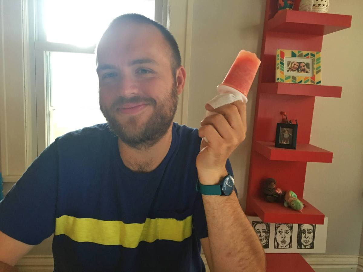 My podcast co-host Scotty getting crunk with a popsicle. (Not really, they all have less than an ounce of wine.)