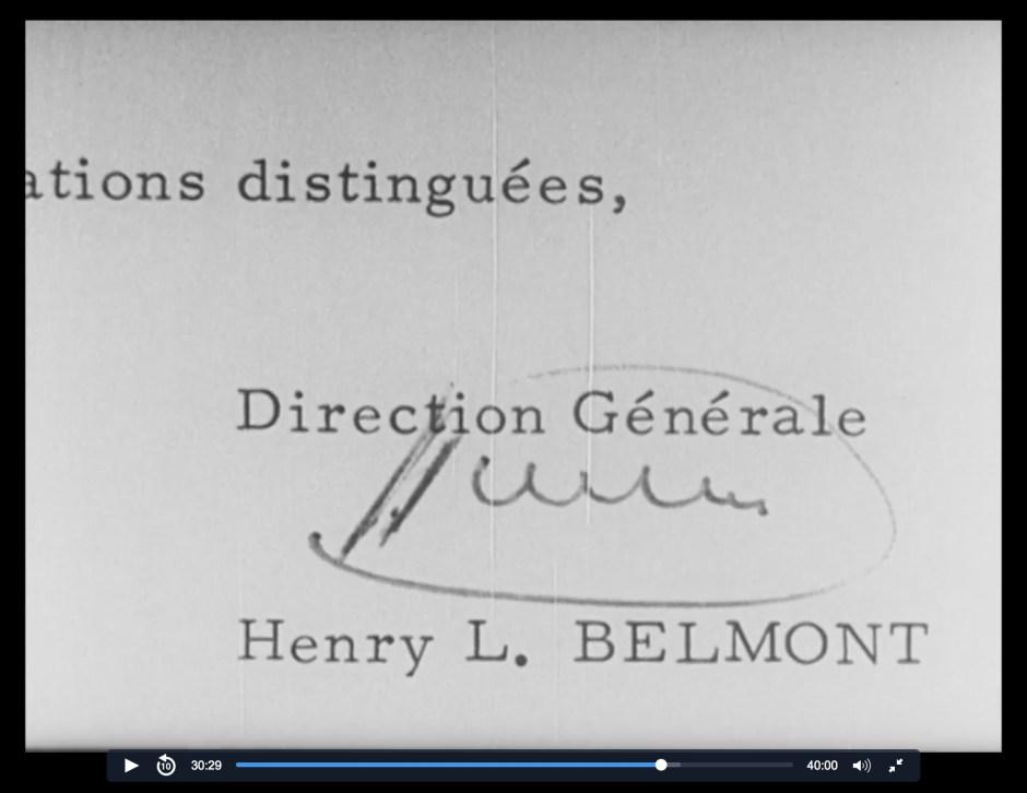 Histoire YEMA_Signature Henry Louis Belmont PDG YEMA 1968