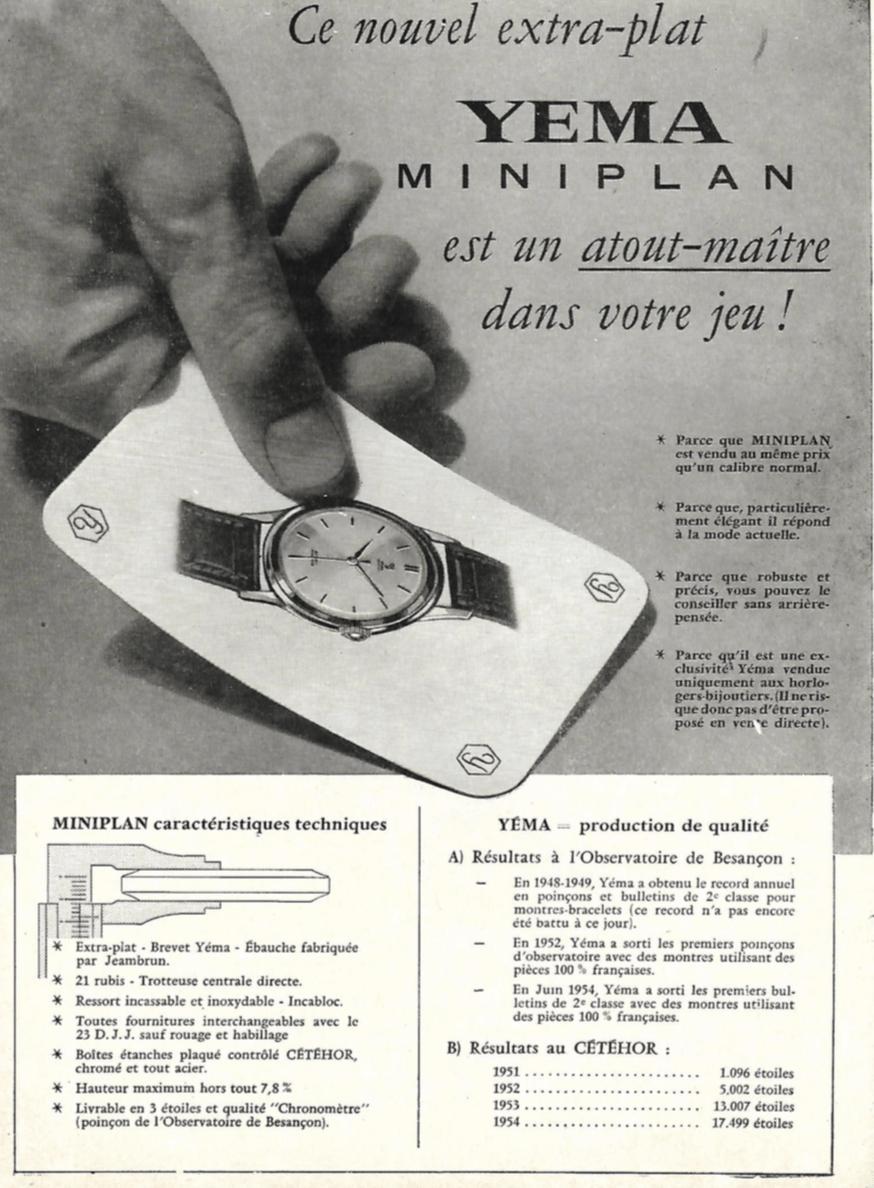 Histoire YEMA_YEMA Miniplan, Publicité professionnelle insérée dans le n°36 du Bulletin de l'A.A.A.E., 1955