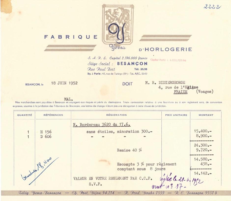 Facture YEMA 1952. Détail : notez l'augmentation de Capital à 6.022.720 frs - Crédit Jerry