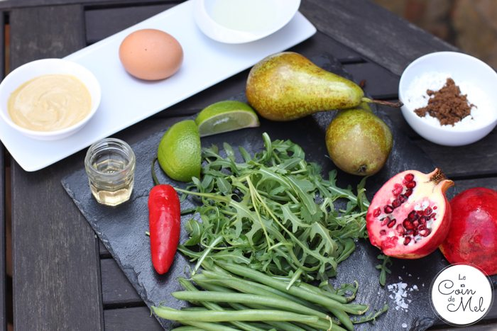 Crunchy Pear and Pomegranate Salad with Mustard Fishcakes - Ingredients