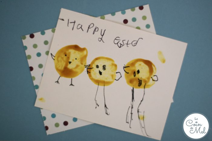 Homemade Easter Cards - sticking
