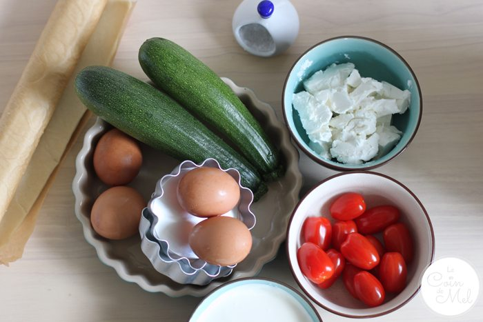 Courgette, Tomato & Goat's Cheese Quiche - Ingredients