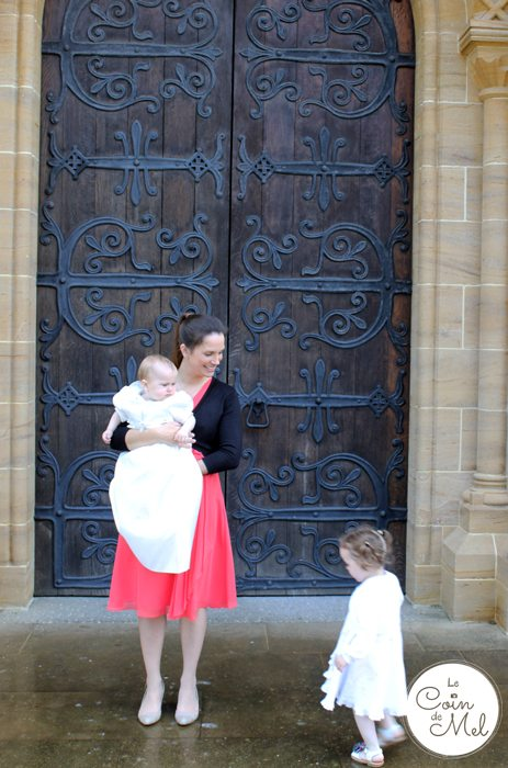 Outside Buckfast Abbey - Mel in Kaliko Dress, Wriggly in Bapism Gown and Jumpy