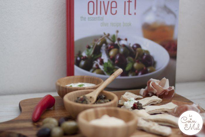 Sharing platter - hummus, tapenade, tzatziki, olives & ham