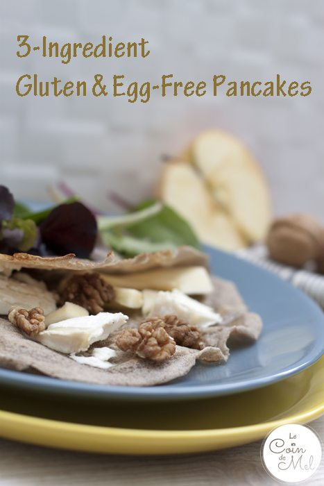3-Ingredient Pancakes (Gluten & Egg-Free) - Goat's Cheese, Honey, Walnuts & Apple