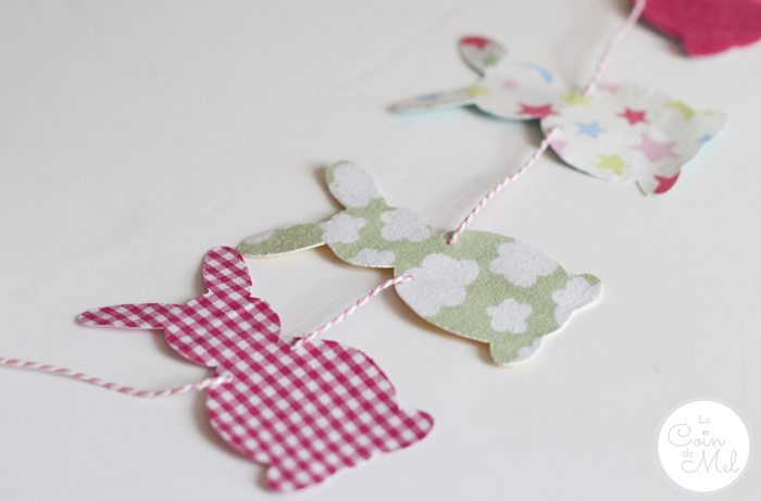Funky Bunny Garland for Easter - Upcycled Fabrics
