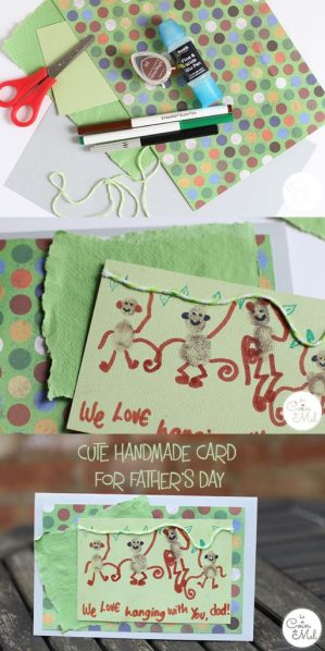10 Minute Crafts - Make a Monkey Fingerprint Card for Father's Day - Love Hanging With You Dad