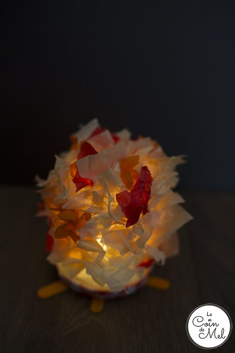These lanterns take less than 10 minutes to make and they look like fire, only safer!