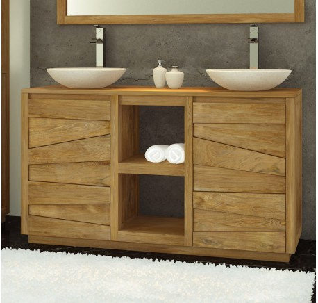 meuble de salle de bain teck massif groovy salle de bain lecomptoirdesauthentics