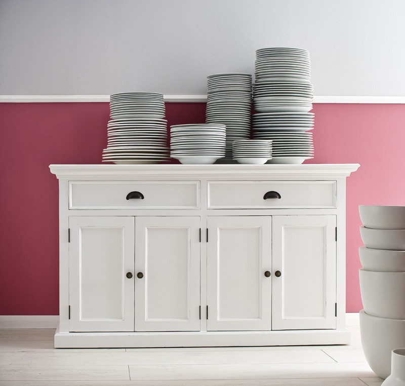 Buffet Commode Bois Blanc Collection LEIRFJORD 4 Portes 2