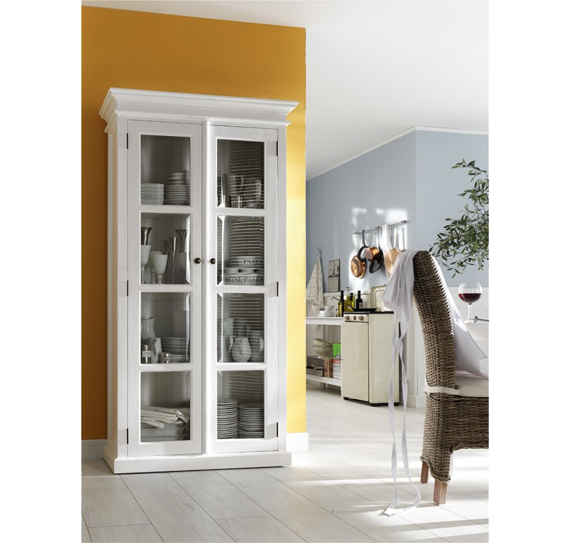 Armoire Bibliothque Bois Massif Blanc Collection