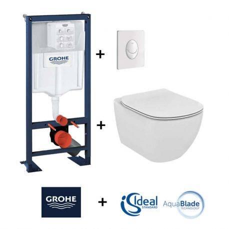 pack wc suspendu grohe rapid sl cuvette tesi aquablade ideal standard plaque skate air blanche