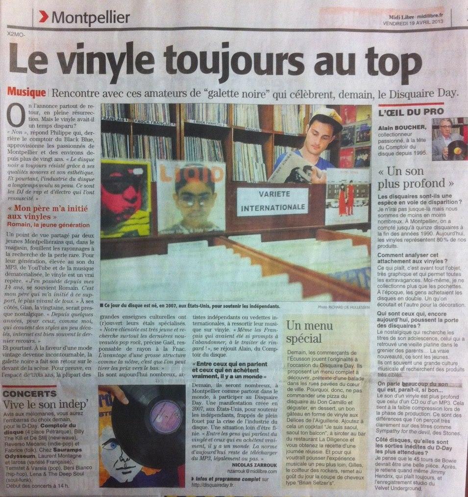 article sur le retour du vinyl au comptoir du disque