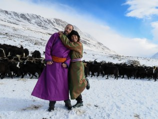 """Perfect for low temperatures, we were lucky to have a pair of very colourful traditional """"dels"""" to wear."""