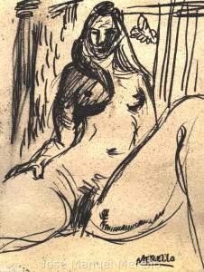 siecle_21_xxi-art_contemporain_a_paris-peinture_contemporaine_dans_la_france-femmes_nus-fleurs-chevaux-taureaux-tauromachies-art_erotique-jose_manuel_merello.-la_femme_nue