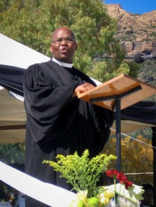LECSA Moderator Rev. T. S. Masemene speaking at Leeto la Thapelo 2012