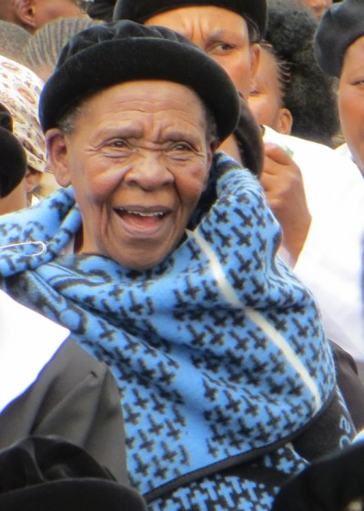 Mother's Union member wearing LECSA blanket