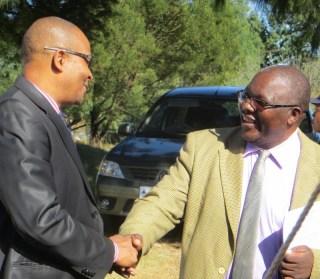 Dr. Molotsi Monyamane is welcomed by Scott Hospital Administrator Mr. Thamae