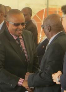 Dr.Monyamane greets the Principal Chief of Matsieng