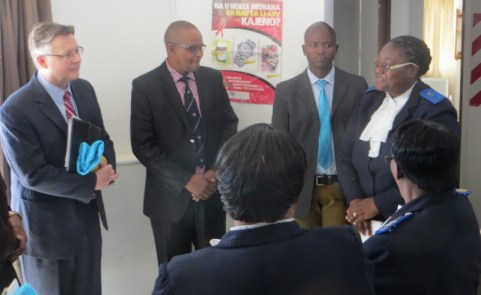 Staff give a tour of the VMMC clinic to the Ambassador and Minister of Health