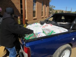 Loading food aid for one of the parishes