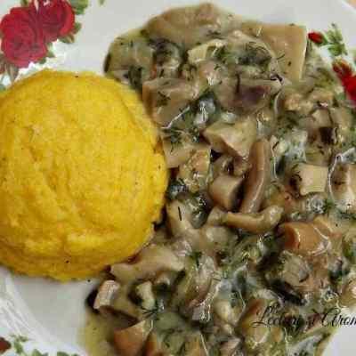 Tocanita de ciuperci cu mamaliga