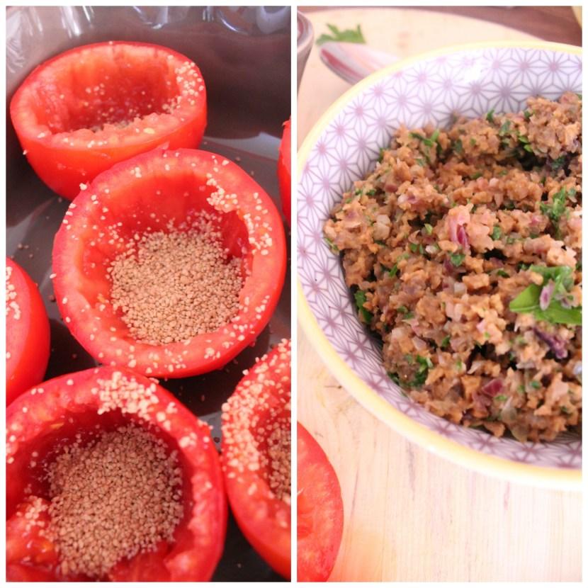 Tomates farcies au seitan et semoule de petit épeautre