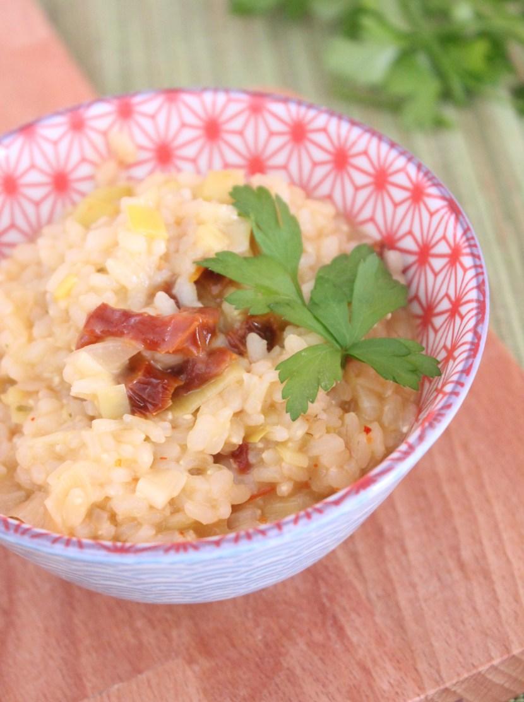 Risotto au piment d'Espelette, poireaux et tomates séchées
