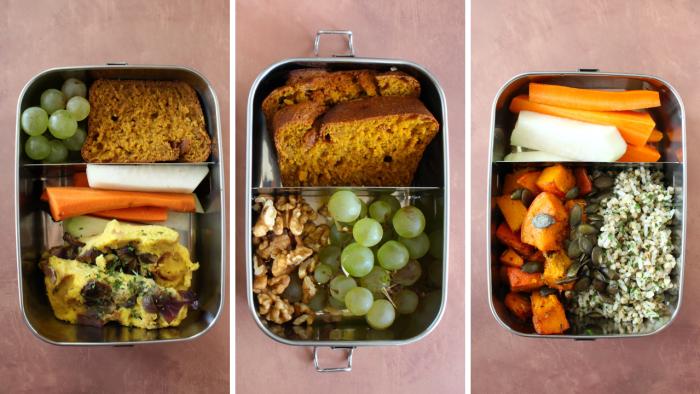 trio de lunch box vegan le cul de poule