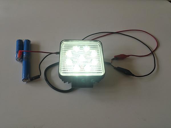 27w作業灯・リチウム電池点灯写真