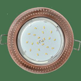 Светильник Ecola GX53 H4 встраиваемый без рефлектора «Чеканка» Черненая медь 43×115