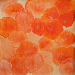 Coral orange_2016_100x100cm_Acrylic and colour pencil on paper_£2,000