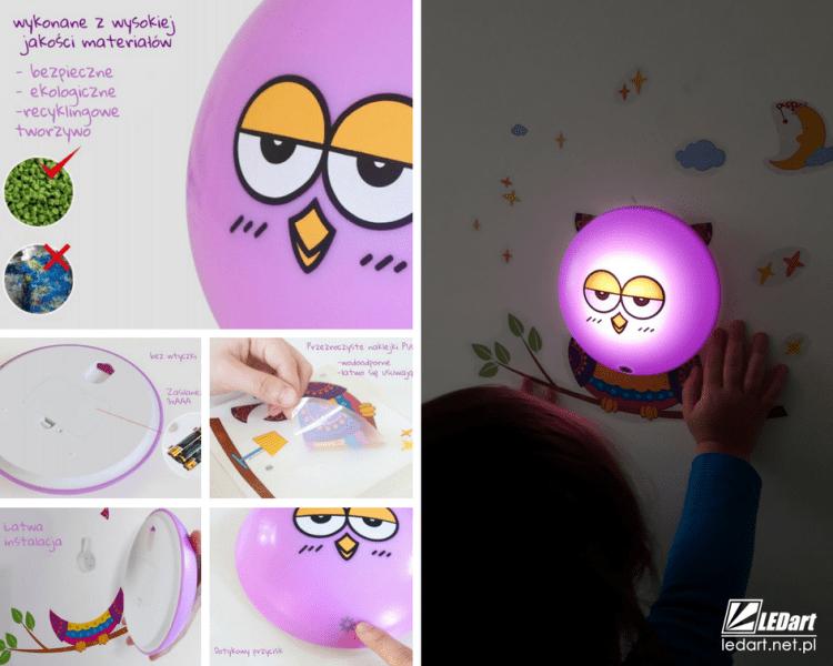 prezent na Mikołaja dla dziecka sówka lampka led dziecięca na baterie bezpieczna