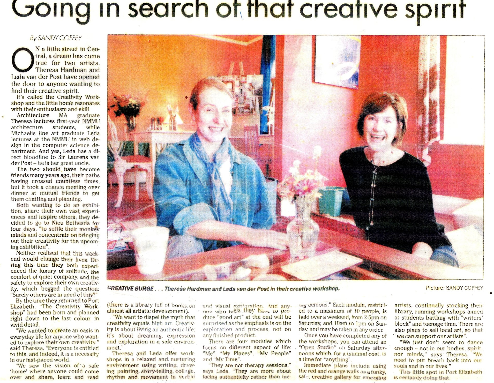 Going in search of that creative spirit - article by Sandy Coffey