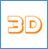 Значок объемных 3D букв