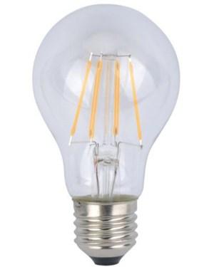 Led filament átlátszó körte égő 6W, meleg fehér 60W izzó helyett, E27, 620 lumen, 60 mm. 2700 Kelvin,, nem vibrál a fénye! 3 év garancia