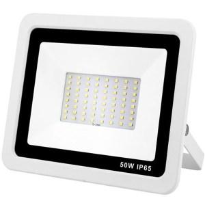 Led reflektor 50W, keskeny, fehér házban, IP65, vízálló. 5200 Lumen, 6000 kelvin, hideg fehér. Life Light led 2 év garancia!