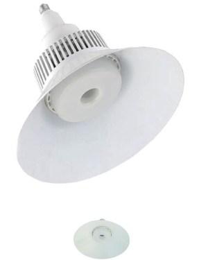 Led csarnokvilágító 100W, 8400 lumen, 130W fém halogén izzó helyett. E27, 190 mm, 4000K, közép fehér, nem vibrál a fénye! 3 év garancia!