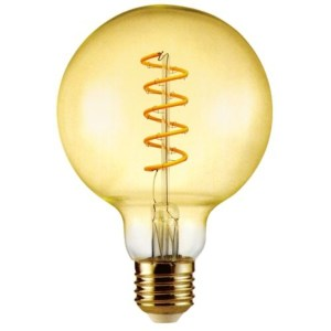 Led Filament körte égő 6W, borostyán buras dekor led. 125mm, 500 Lumen, 50W izzó helyett. E14, 2100K, extra meleg fehér