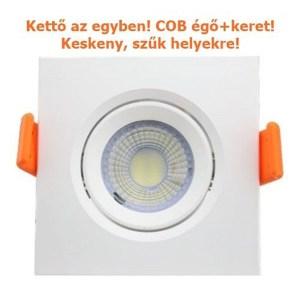 Led COB spot égő és négyzet spot keret egyben, 7W