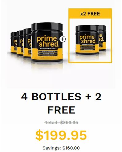 buy 4 primeshred fatburner get 2 free and save 160