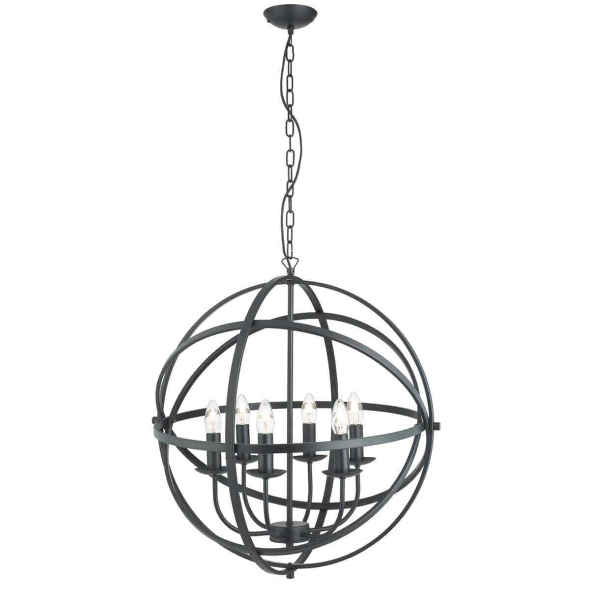 Orbit 6 Light Cage Frame Orb Pendant Matt Black