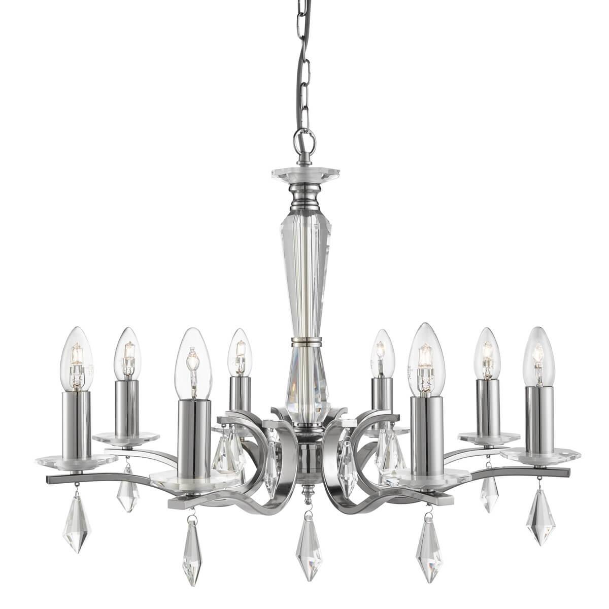 Royale 8 Light Ceiling Satin Silver Hexagonal Clear